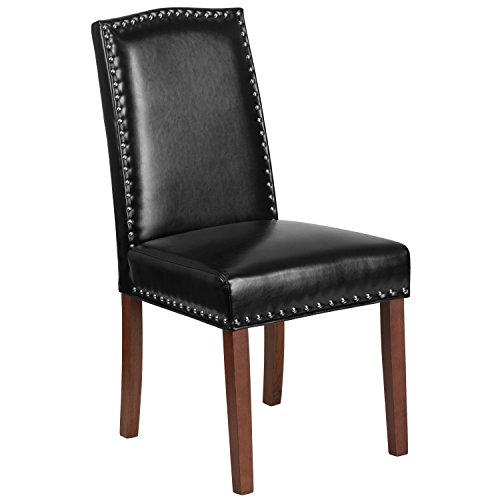 (Flash Furniture HERCULES Hampton Hill Series Black Leather Parsons Chair with Silver Nail Heads)