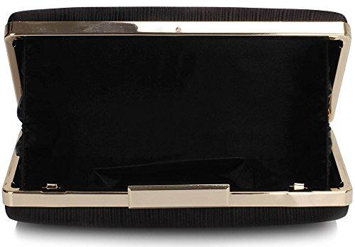 Black Elegant Design Evening Satin Womens Look With Clutch Designer Chain Party Ladies 1 Handbag Box Hardcase Bag x6aqw17H