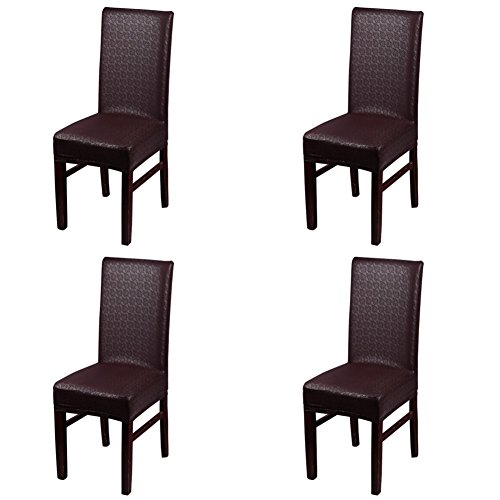 Dining Chair Covers, My Decor Solid Pu Leather Waterproof Stretch Dining Chair Protctor Cover Slipcover, Lace Coffee, 4 Pack (Chair Covers Waterproof)