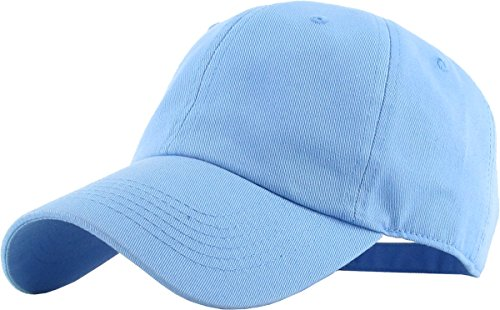 KB-LOW SKY Classic Cotton Dad Hat Adjustable Plain Cap. Polo Style Low Profile (Unstructured) (Classic) Sky Adjustable