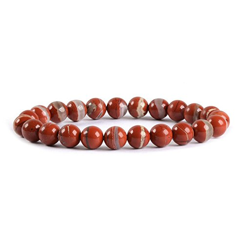 Natural Red River Jasper Gemstone 8mm Round Beads Stretch Bracelet 7
