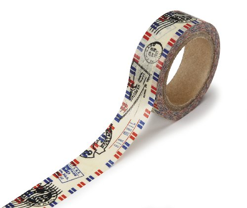 DARICE 1217-144 Washi Tape Roll, 5/8 by 315-Inch, Air Mail Design (Washi Tape Mail)