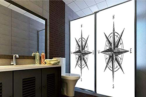 Compass Room Decor Complete - Horrisophie dodo 3D Privacy Window Film No Glue,Compass,Seamanship Hand Drawn Windrose with Complete Directions North South East West Decorative,Black White,70.86