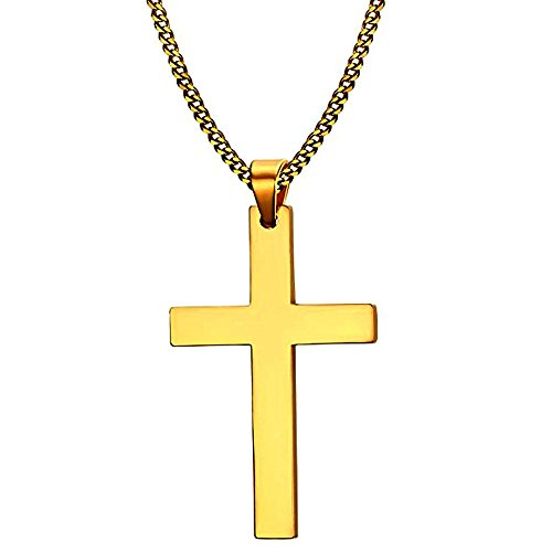 Cross Necklace, Quantum 3mm Stainless Steel Pendant Curb Chain for Men Women Gold (Curb Chain Cross)
