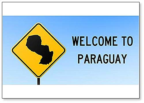 Welcome to Paraguay with Map on Road Sign Illustration Fridge Magnet