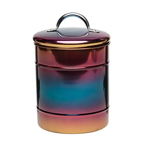 (Amici Home Rainbow Metal Canister, Decorative Metal Storage Container with Luster Finish and Gasket Lined Lid, 38 Ounce Capacity (Medium))