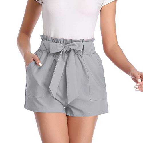 Freeprance Paper Bag Shorts for Women high Waisted Casual Shorts Elastic Waist Front Pockets DK_XGR_L