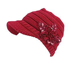 Red Beanie Cable Knit Hat with Sequined Flower