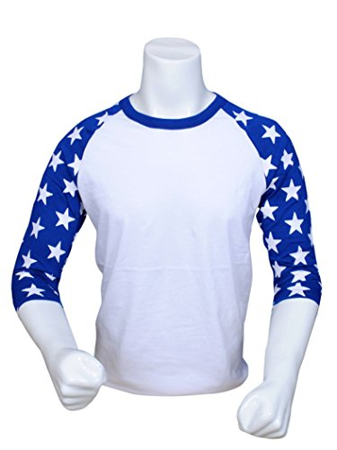 804442350 ILTEX Mens Raglan 3/4 Star Sleeves T-Shirt (X-Large,