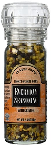 Trader Joe's Everyday Seasoning with Built in Grinder Use on Everything Everyday Sea Salt,mustard Seeds, Black Peppercorns,coriander,onion,garlic,paprika & Chili Pepper 2.3oz