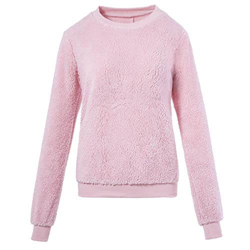 Plush Solid Pullover Sweater,ZYooh Women's Fluffy Fleece Sweatshirt Round Neck Plus Size Autumn Coat Tops (Pink, M) by iLH_Fashion Sweatshirt