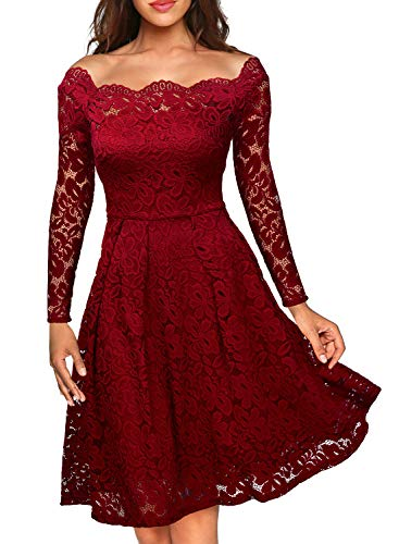 MISSMAY Women's Vintage Floral Lace Long Sleeve Boat Neck Cocktail Formal Swing Dress Red X-Small