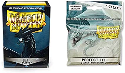 Matte Ruby 100 Count Standard Size Deck Protector Sleeves 100 Count Clear Perfect Fit Inner Card Sleeves Dragon Shield Bundle