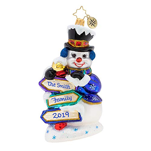 Christopher Radko Signs of Snow Personalized Snowman Christmas Ornament