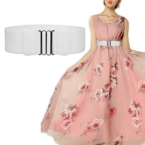 Futurekart Women's Stylish Bow Buckle Elastic Embellished Decorative Stretch Waist Belt (White)