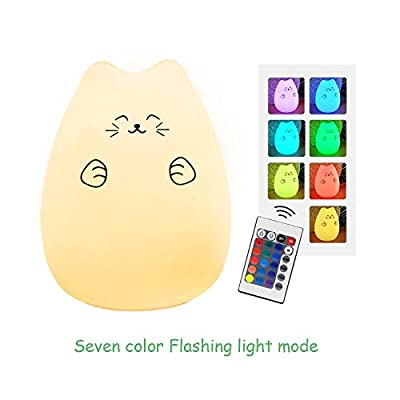 Night Light for Kids, Huashen Remote Control Animal Night lamp,USB Rechargeable Silicone Soft Baby 7 Color and 16 Static Colors' Light