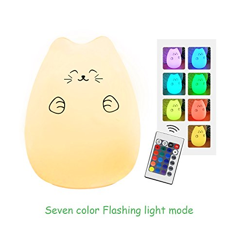 Huashen Cat lamp, Cat Night Light for Kids LED Nursery Night Light Cute Kitty Night Lamp for Kids, USB Rechargeable Warm White Light 7 Colors and 16 Static Colors' Light Review