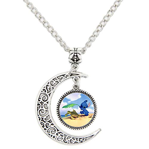 LIAOWY Cute Stitch Necklace Pendant, Crescent Moon Necklace Jewelry