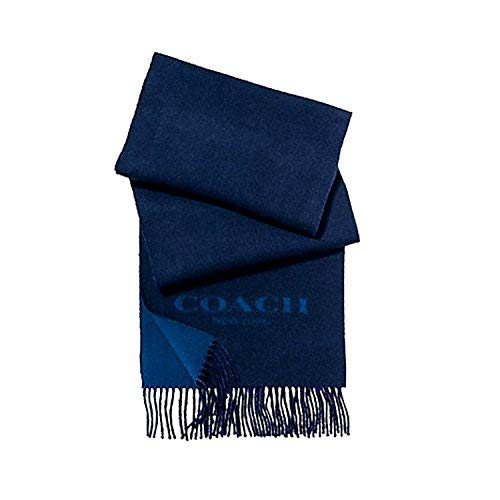 COACH MEN WOOL AND CASHMERE BLEND BI-COLOR LOGO SCARF F86542