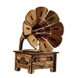 Orgrimmar to Alice Tune Hand Engraved Gramophonel Music Box Handmade Engraved Wooden Perfect Birthday Presents (Wood)