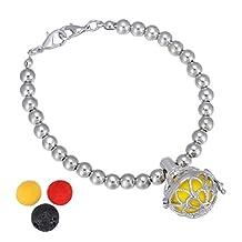 HooAMI Aromatherapy Essential Oil Diffuser Bracelet Lotus Flower Charm Locket Jewelry