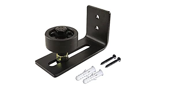 Guía estancia rodillo ajustable para la parte inferior de puerta corrediza de granero | tornillos y Anclajes de plástico incluido para instalación | funciona con puertas hasta 3