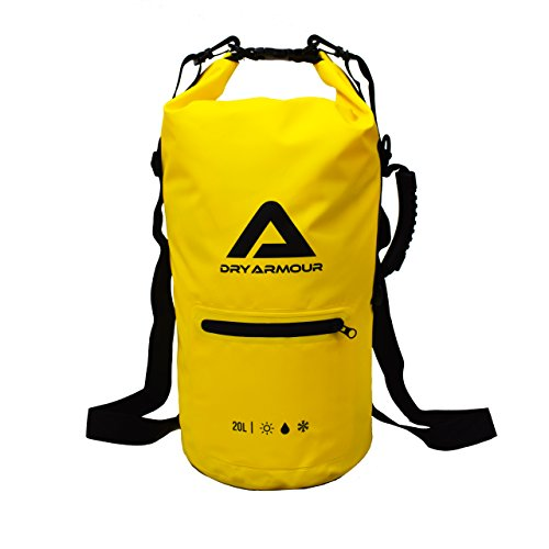 Dry Armour - 20L Waterproof Dry Bag - Roll Top Floating Compression Bag with Front Zipper Pocket - Keeps Items Dry Ideal for Hiking, Rafting, Boating, Kayaking, Fishing, Cycling, Beach and Outdoors.