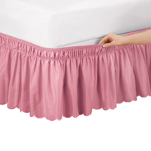 Collections Etc Scalloped Elastic Bed Wrap Around, Easy Fit, Dust Ruffle Bedskirt, Rose, Queen/King