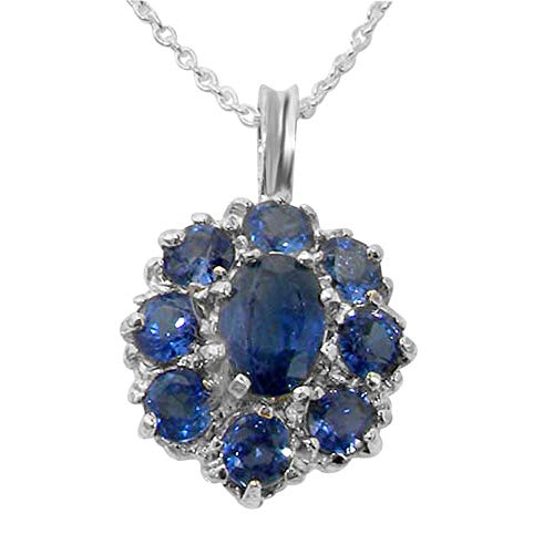 Ladies Solid 925 Sterling Silver Natural Light Blue Sapphire Large Cluster Pendant Necklace (Genuine Blue Cluster Sapphire Pendant)