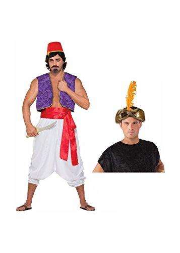 Desert Prince Pants Sash and Crown Men Costume Set (Arabian Themed Dresses)