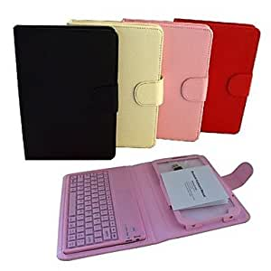 WEV 3.0 Wireless Bluetooth Keyboard Ultrathin Protective Leather Case for Samsung Tab 3 P3200 (Assorted Colors) , Pink