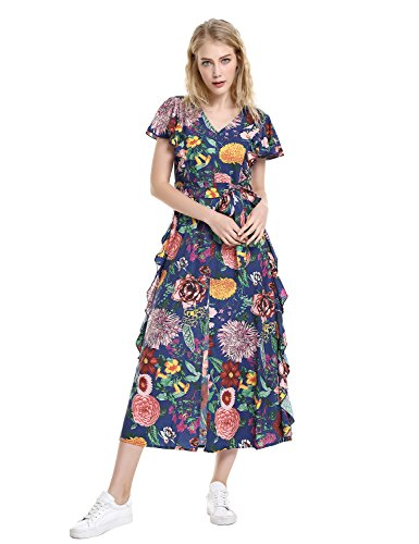ZAN.STYLE Womens Split Floral Ruffle Maxi Dress with Tie Waist Floral Blue Small
