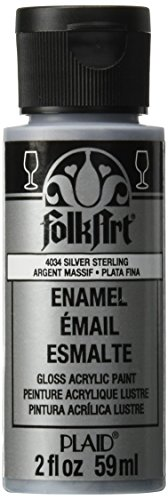 FolkArt Enamel Glitter and Metallic Paint in Assorted Colors (2 oz), 4034, Metallic Silver Sterling