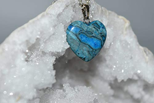 Nature's Enlightenment Heart Blue Lace Agate Crystal Pendant - Reiki, Healing, Meditation, Crystal Grid, Pagan, Wicca, Spells, Protection