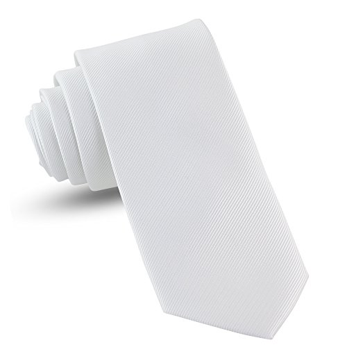 - Handmade White Ties For Men Skinny Woven Slim Tie Mens Ties : Thin Necktie, Solid Color Neckties 3