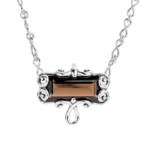 Carolyn Pollack Sterling Silver Smokey Quartz Baguette Infinity Link Necklace 16-18 Inch