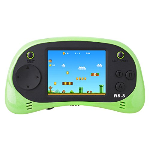 ZHISHAN Handheld Game Console Children Built in 260 Classic Old Video Games Retro Arcade Gaming Player Portable Playstation Boy Birthday 8 Bit Rechargeable (Green)
