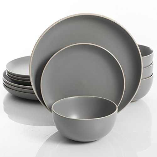 Gibson Home Rockaway 12 Piece Dinnerware Set, Grey (Set Plate Black Bowl And)
