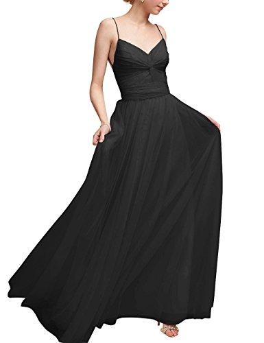 Rueckenfrei Kleid V Mädchen Ausschnitt Schwarz Langes Abendkleid für Tüll A Linie qUgtA6tT