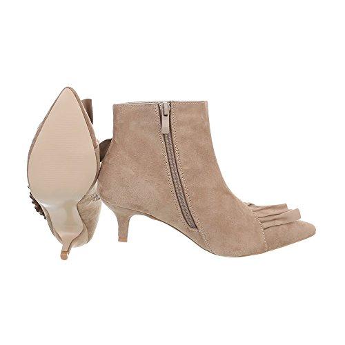 Klassische Stiefeletten Damenschuhe Klassische Stiefeletten Kleiner Trichter Moderne Reißverschluss Ital-Design Stiefeletten Beige G-46