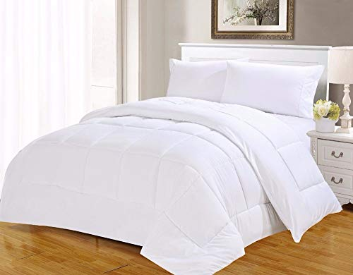 UNM Sleepings Egyptian Cotton Cover, 100% Cotton Comforter, Luxurious Soft All Season, Hypo-Allergic Classic White Comforter (California King)