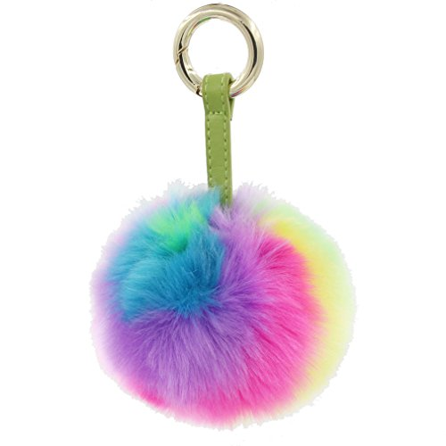 1PC Multicolor Faux Fur Pompom Ball Keychain Leather Ring Women Hand bag Charm (Rainbow 10cm)