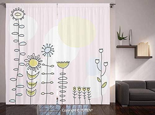 (Thermal Insulated Blackout Window Curtain [ Kids,Cute Sunflower Tulips Daisy Field Sun Nature Childish Cartoon Design Decorative,Light Pink Yellow Blue Green ] for Living Room Bedroom Dorm Room Classr)