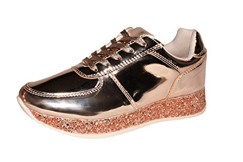 ROXY ROSE Women Fashion Metallic Sneaker Glitter Flatform Quilted Lace Up Casual Shoes - New Design (10 B(M) US, Rose Gold)