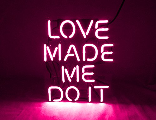 KUKUU Neon Sign Decor Love Made Me Doit Real Glass Tube Handmade 12''x 9.8'' by KUKUU