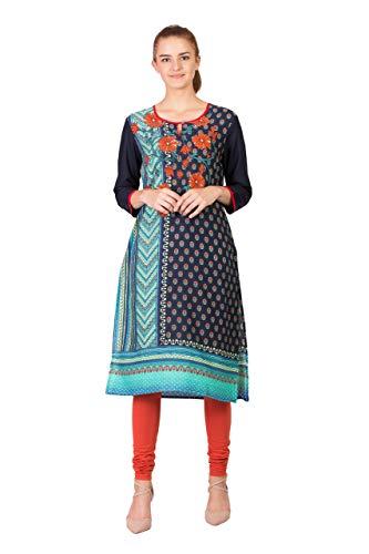SABHYATA Women Kurta Designer Ethnic Long Dress Casual Tunic Kurti for Women Ladies Partywear Material 100% Pure Rayon Neck Type Round Neck Medium N.Blue