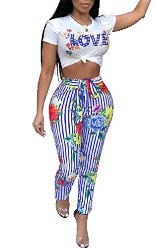 VLUNT Women Floral Print 2 Piece Outfits Puff Short Sleeves Crop Top Bodycon Long Pants Set Jumpsuits,Blue-M (Pant Piece Suit Two)