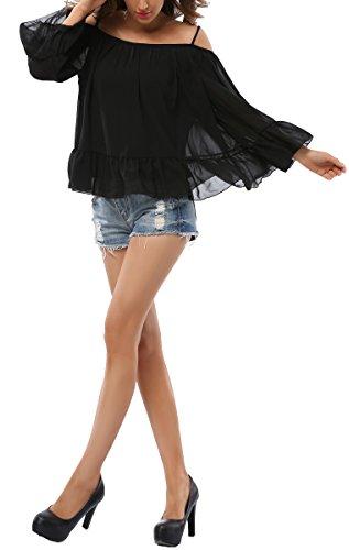 Vídeo de las mujeres gasa correa de espagueti volantes blusa Loose Fit Tops negro