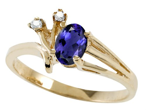 Tommaso Design Oval 6x4mm Genuine Iolite Ring 14 kt Yellow Gold Size 8.5 14k Yellow Gold Iolite Ring