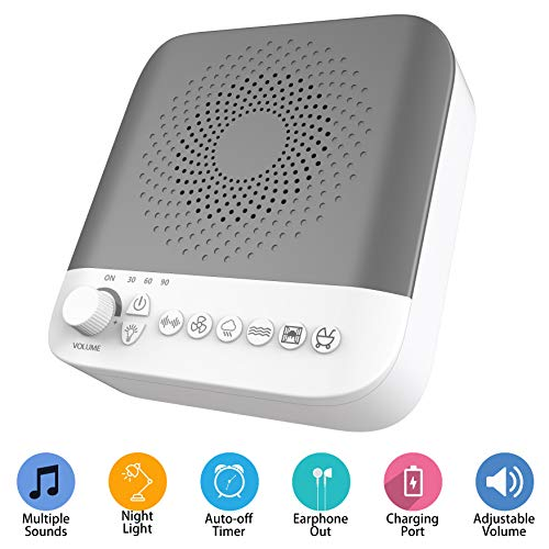 White Noise Sound Machine with 17 Nature Sounds, 7 Gears Adjustable LED Night Light, USB Output Charger, Adjustable Volume, Headphone Jack and Auto-Off Timer (Grey) by BESTHING